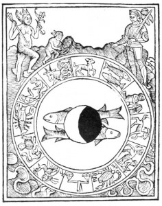 Circle containing the zodiacal signs around border, sign of Pisces at center on which is imposed a disk showing the dark and bright crescent phases of the moon; upper left Venus, nude, standing, having wings at head and feet, holding arrow in right hand 6-petalled flower in left; upper right Mars dressed in armor, holding sword in left hand.